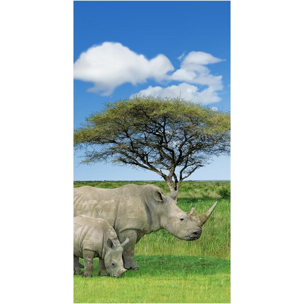 Rhino And Baby Endanger Wildlife 100% Cotton Beach Towel by The Beach Collection